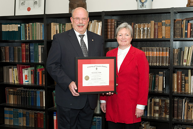 Citation recipient Michael Dow (left) with Dean Jeanette Roberts (right)