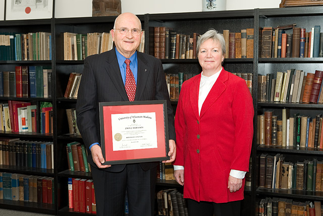 Citation recipient John Merianos (left) with Dean Jeanette Roberts (right)