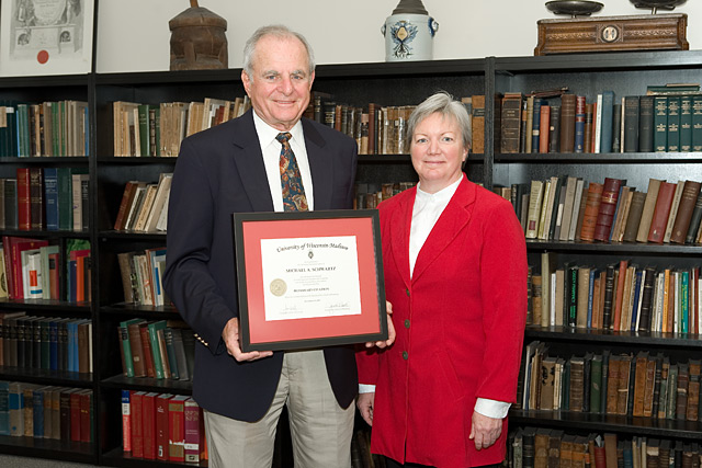 Citation recipient Michael Schwartz (left) with Dean Jeanette Roberts (right)