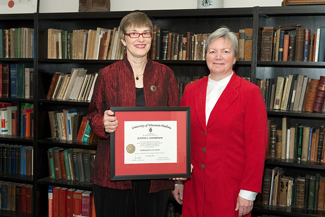 Citation recipient Judith Thompson (left) with Dean Jeanette Roberts (right)