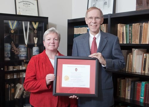 Citation recipient Professor Curt Johnson with Dean Jeanette Roberts