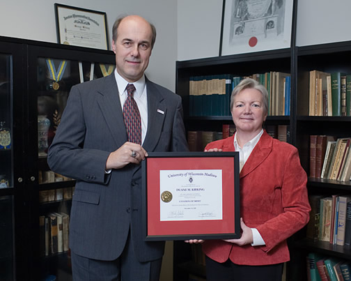 Citation recipient Dr. Duane Kirking with Dean Jeanette Roberts