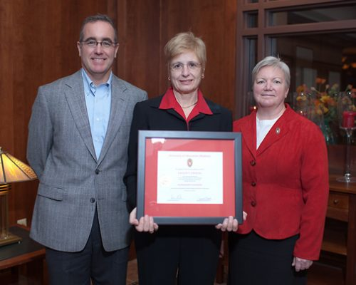 Citation recipient Dr. Earlene Lipowski with Dean Jeanette Roberts and Brian Mc Ilhone