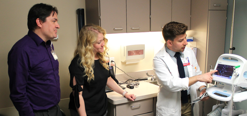 A 2nd year pharmacy student learns about heart function while on rotation in the cardiac care unit.