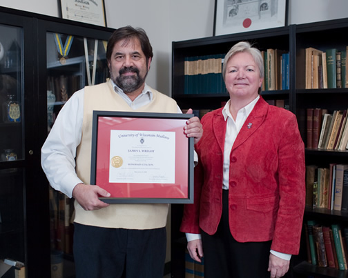 Citation recipient Dr. Jim Wright with Dean Jeanette Roberts