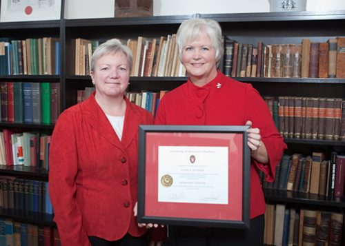 Citation recipient Lynne Dittman Edler with Dean Jeanette Roberts