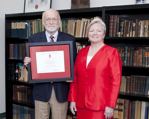 Citation recipient Dr. Palmer Taylor and Dean Jeanette Roberts