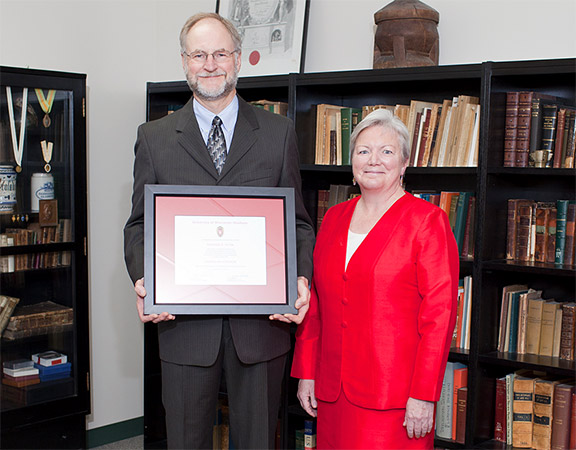 Citation recipient Dr. Richard Pyter with Dean Jeanette Roberts.