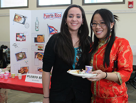 Students Cristina Aponte (left) and Ngan Lai (right) at the Taste of MAPP.