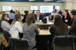 Joe Zorek (center facing), assistant professor (CHS) in the Pharmacy Practice Division, participated in the roundtable discussion.
