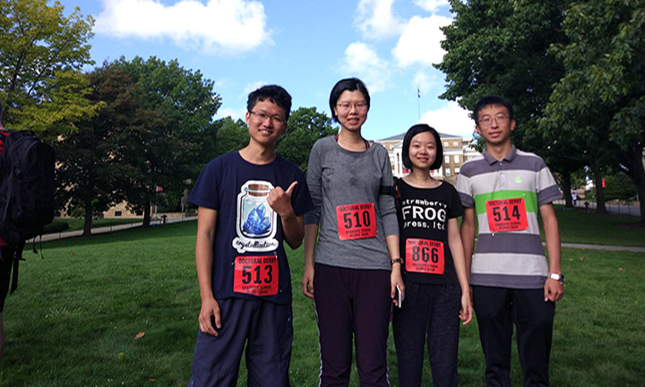 L-r: Representing both pharmaceutical and social and administrative sciences, Xiaolei Li, Niying Li, Jinshan Xie, and Xin Yao completed the Doctoral Derby.
