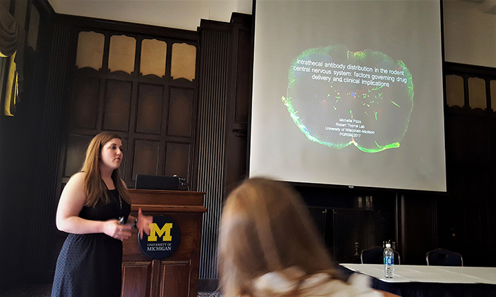 Graduate student Michelle Pizzo presents at the 2017 PGSRM Annual Meeting.
