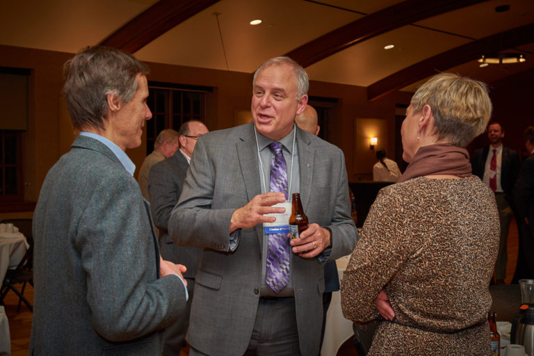 Raymond Skwierczynski and his wife chats with guest during the reception.