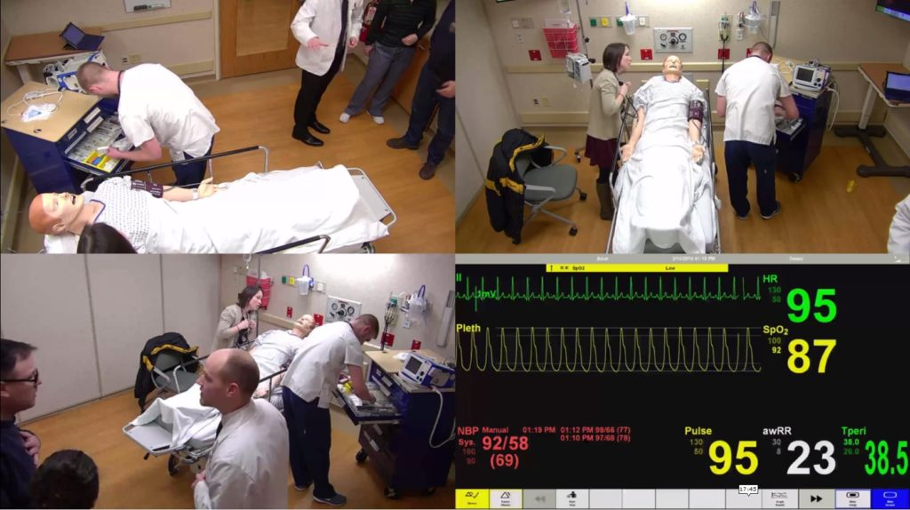 Four-panel image of simulation videos and the mannequin's vital signs.
