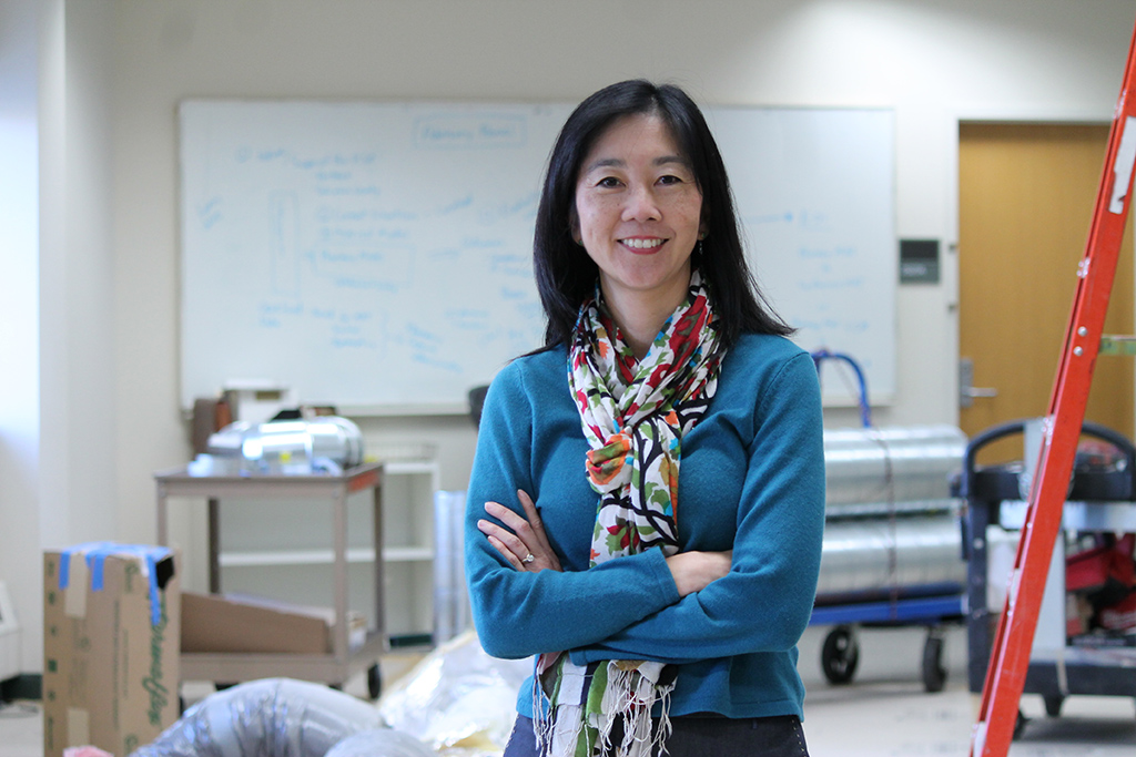 Michelle Chui in the SRC during a remodel