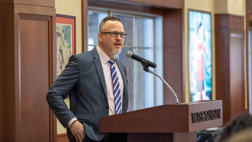 Gavin Arteel speaking at the 2019 PharmTox breakfast