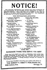 Chicago Defender Advertisement for Official Distributors