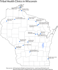 A map of IHS Clinics in the state of Wisconsin.