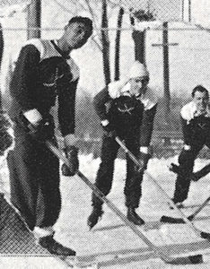 James Buchanan (left) as a member of the 1933-34 Menasha High School Ice Hockey team.