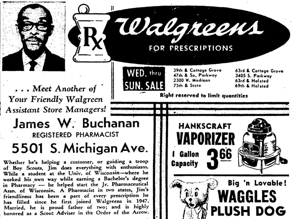 1966 Walgreens advertisement from the Chicago Defender featuring James Buchanan.