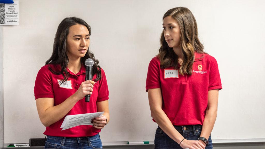 Shelby Koen and Kara Mudd presenting.