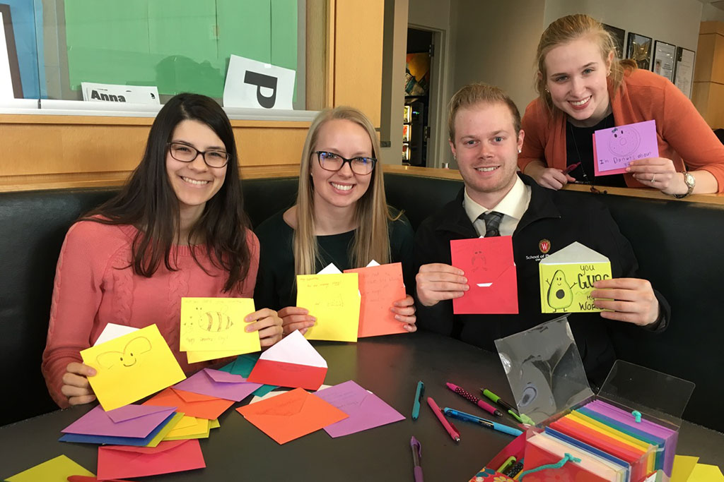 Lindsey Skubitz, Kelsey Eickstaedt, Bernard Brooks, and Olivia Merillat made Valentine's Day cards for the residents of Capitol Lakes as part of PLS' Community Service Challenge.