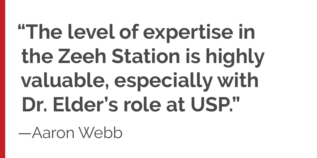 """The level of expertise in the Zeeh Station is highly valuable, especially with Dr. Elder's role at USP."""