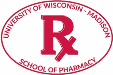 """Sticker featuring """"Rx"""" and """"University of Wisconsin-Madison School of Pharmacy"""""""