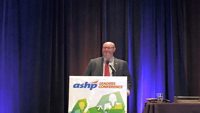 Steve Rough, M.S., FASHP, Senior Director of Pharmacy, UW Health, and Clinical Associate Professor, UW-Madison School of Pharmacy, presenting the 32nd John W. Webb Lecture at the Annual ASHP Conference for Pharmacy Leaders in October 2016 in Boston, Mass.