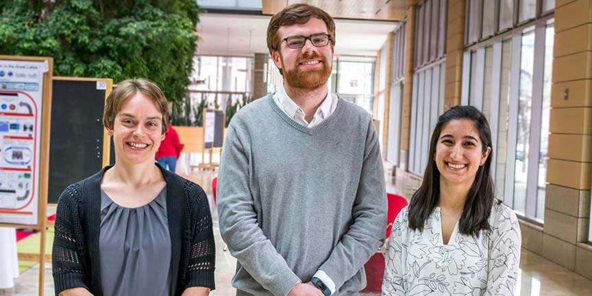 2017 Discovery Challenge winners. From left: Sarah Neuman, Ryan Clark, Naomi Biok Not pictured: Qinjingwen Cao