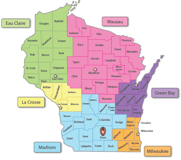 Pharmacy students may do rotations in the 6 regions throughout the state: Eau Claire, La Cross, Madison, Wausau, Green Bay, and Milwaukee.