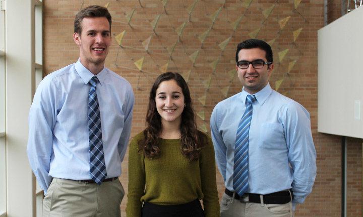 Left to right: Aaron Rottier Julia Chini, and Sam Boroumand.