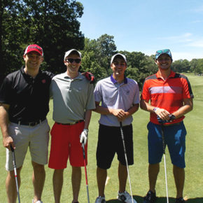 A 2017 student golf tournament team comprised of 2nd year pharmacy students Dean Bowen, Evan Hertel, Drew Dretske, and Griffin Budde.