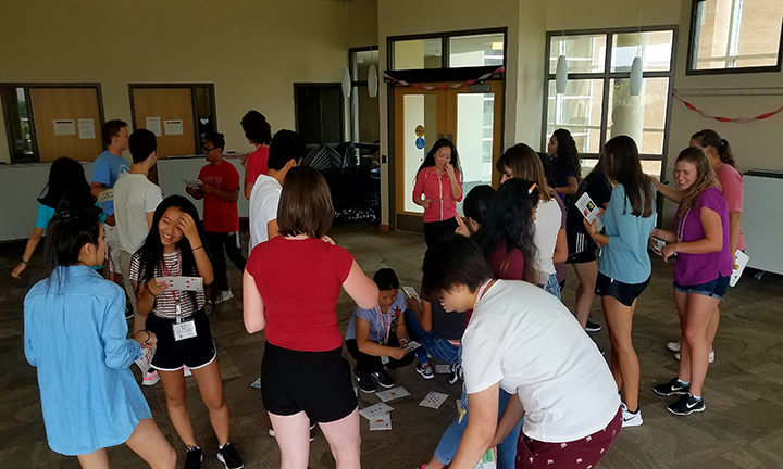 2017 Pharmacy Summer Program participants engage in a team building exercise.