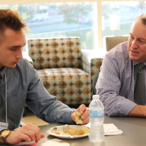 Brett Kelly, assistant professor in the School's Division of Pharmacy Professional Development, brings his background as a managed care pharmacist with extensive leadership experience to mentor PharmD students like Jalen McMartin (DPH-2) in the Leadership Certificate and Mentor Program.