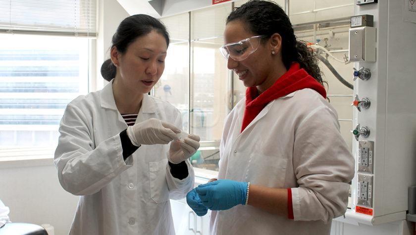 Assistant Professor Jiaoyang Jiang and Arielis Estevez.