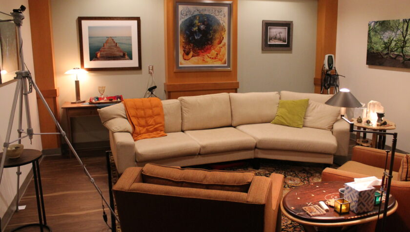 A comfortable living room-type space in the School of Pharmacy for testing mental health treatments.