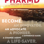 """PharmD Program Guide cover that says """"become an innovator, an advocate, a pioneer, a difference-maker-a change agent, a life saver."""""""