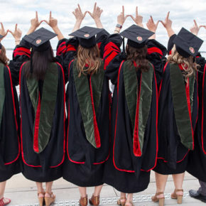 2019 graduates together at Memorial Union terrace