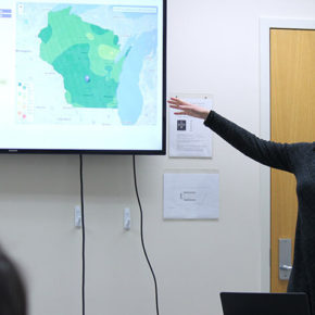 Assistant Scientist Laurel Legenza presents her antimicrobial resistance mapping tool, AMR Tracker