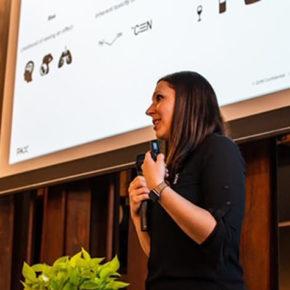Alumna Echo Rufer delivering a presentation