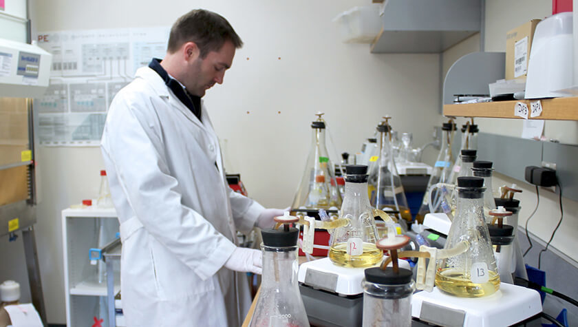 Associate Professor Warren Rose in his lab
