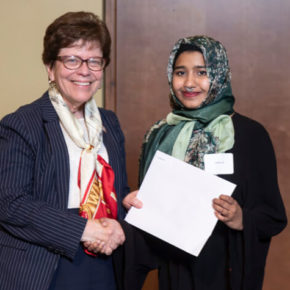 PharmTox student and 2019 Hilldale Fellowship winner Adeela Ali with Chancellor Rebecca Blank.