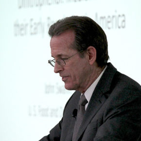 John Swann speaking at the School of Pharmacy as part of the Go Big Read event series.