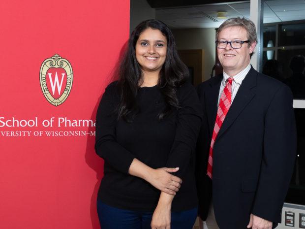 Graduate student Tanvee Thakur, winner of a teaching assistant award and Joseph B. Wiederholt Fellow, with Associate Professor Charles Lauhon.