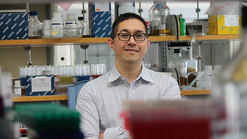 Jason Kwan in his lab.