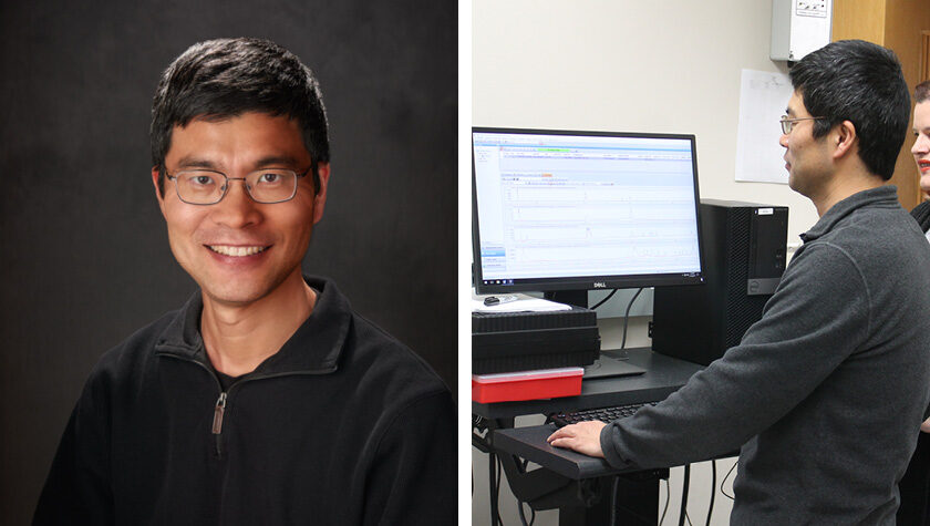 Professor Weiping Tang, a headshot and a photo of him working on a computer.