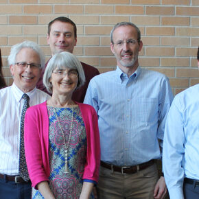 (Left to right) Associate Professor Casey Gallimore, Associate Professor Bob Breslow, Assistant Professor Kevin Look, Professor Mara Kieser, Professor David Mott, and Assistant Professor Ed Portillo.