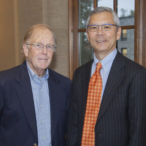 Professor Emeritus Dan Rich (left) with former student Roger Tung (PhD '87).