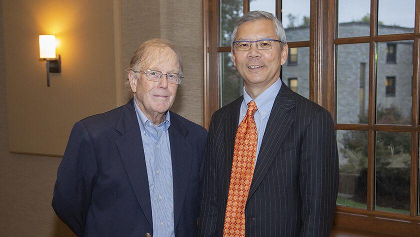 Professor Emeritus Dan Rich (left) with former student Roger Tung (PhD '87).